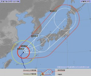 台風18号進路予想(2017.09.15 12時 JMA)