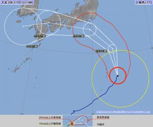 台風12号 JMA 72時間進路予報 2018.07.27 16時